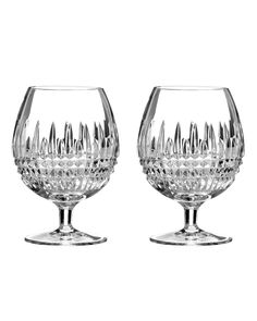 """Waterford Two """"Lismore Diamond"""" Brandy Glasses - Horchow"""
