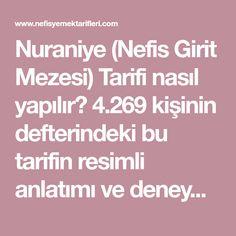 Nuraniye (Nefis Girit Mezesi) Tarifi nasıl yapılır? 4.269 kişinin defterindeki bu tarifin resimli anlatımı ve deneyenlerin fotoğrafları burada. Yazar: Ş. BURAK