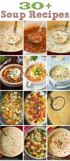 30 Soup Recipes from Cooking Classy - Enough to get you through the cold fall/winter ahead. Each and every one of them is AMAZING! A bunch of them are slow cooker recipes too. Crock Pot Recipes, Slow Cooker Recipes, Cooking Recipes, Healthy Recipes, Quick Soup Recipes, Think Food, I Love Food, Food For Thought, Soup And Sandwich