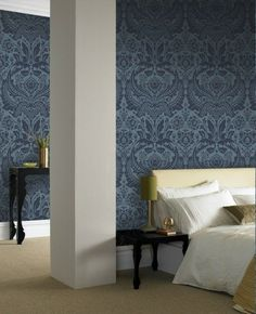 Desire Damask Wallpaper - Designer Blue Damask Wall Coverings by Graham  Brown