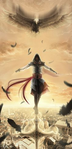 Ezio on top of Venice!Ezio:Into the sky:. Assassins Creed 2, Assasins Cred, Assassin's Creed Wallpaper, Assassins Creed Wallpaper Iphone, Art Anime, Art Graphique, Video Game Art, Fan Art, Animes Wallpapers
