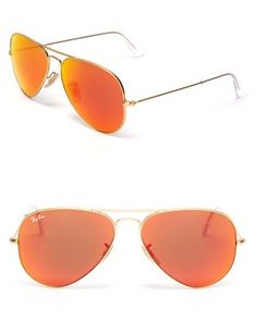 Rayban orange mirrored lens aviators