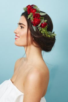 """""""This flower headband is slightly asymmetrical and includes fresh eucalyptus with a cluster of small white ..."""