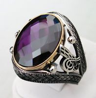 Handmade Amethyst Stone 925 Sterling Silver Men's Ring E55