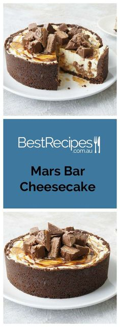 Mars Bar Cheesecake recipe - a decadent no-bake cheesecake swirled with Butterscotch Sauce and Chocolate Sauce topped with Mars Bars.