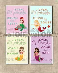 Mermaid Bathroom Set - Set of 4 8x10 - Even Mermaids Wash Hands, Flush Toilet, Comb Hair, Brush Teeth $37