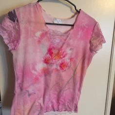 Tie dye and lace tee...size is medium Cute tie-dye tee with lace sleeves and frontsize is medium... Bleu claire by Claire Pettibone Tops Tees - Short Sleeve