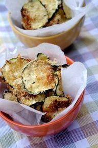 Oven-Baked Zucchini Chips-- we love these! They feel like such a splurge but wont hurt your waistline.  Sheer perfection if you want to stick to your weight loss resolution but dont want to feel deprived!