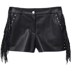 Stud Flowy Short ($41) ❤ liked on Polyvore featuring shorts, black, embellished shorts, fringe shorts, faux-leather shorts, mango shorts and short shorts