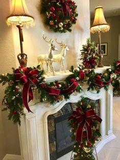 Gold Christmas Decorations, Christmas Mantels, Noel Christmas, Christmas Lights, Holiday Decor, Red And Gold Christmas Tree, Christmas Chandelier Decor, Christmas Mantel Garland, Decorating Garland For Christmas