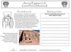 L 57 Middle School Social Studies Worksheets: Ramses II 5th Grade Worksheets, Homeschool Worksheets, Social Studies Worksheets, Homeschooling, 6th Grade Social Studies, Teaching Social Studies, Ancient Egypt Lessons, Ancient History, Education World