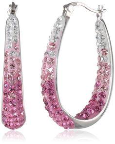 Carnevale Sterling Silver Colored Hoop Earrings with Pink Swarovski Crystal Elements