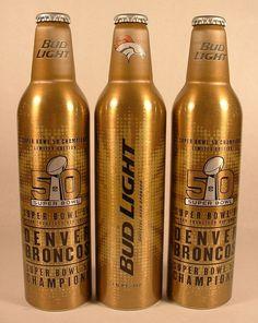 3 New 16 Oz Bud Light Denver #Broncos 50th Superbowl Alum Bottles Peyton Manning from $24.5