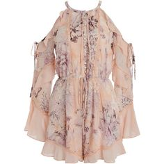We Are Kindred Paloma Ruffle Romper ($365) ❤ liked on Polyvore featuring jumpsuits, rompers, pink, long-sleeve rompers, pink romper, short romper, cold shoulder romper and long sleeve short rompers