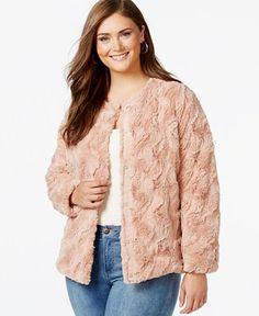 Junarose Plus Size Faux-Fur Swirl Coat - Coats - Plus Sizes - Macy's
