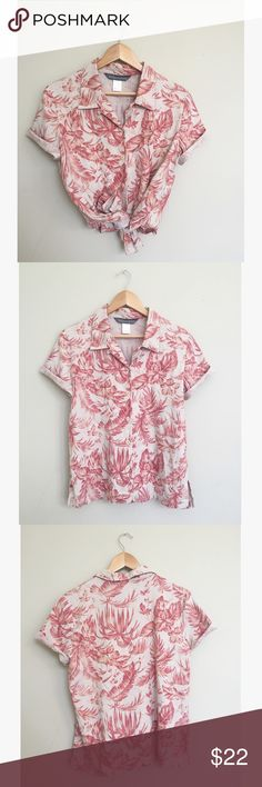 "Floral Hawaiian Style Ladies Aloha Shirt Hibiscus I love to wear these shirts tied up with denim cutoffs! This button down top is a linen blend, lightweight and summery. Small brown stain pictured on bottom right side. Invisible when tied. Size medium, 25.5"" long, 20"" pit to pit. No trades, offers welcome! Jessica Holbrook Tops Button Down Shirts"
