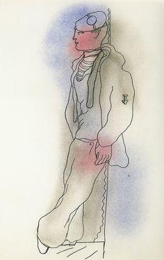 Jean Cocteau, dessin figurant dans l'édition originale du Livre blanc, 1930