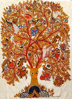 Pure Ghee Designs : Kalamkari paintings for Samode Safari Lodge Indian Folk Art, Indian Artist, Kalamkari Painting, Madhubani Art, Madhubani Painting, Tree Of Life, Traditional Art, Asian Art, Art Forms