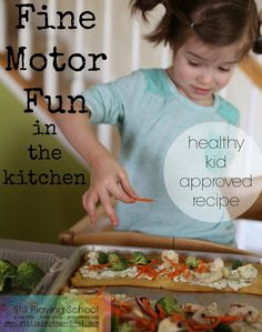Cooking with Kids: Developing Fine Motor Skills in the Kitchen (with Healthy, Kid Approved Recipe) from Still Playing School Motor Skills Activities, Fine Motor Skills, Activities For Kids, Creative Activities, Sensory Activities, Cooking Classes For Kids, Cooking With Kids, Teaching Kids, Kids Learning