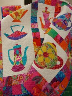 Kaffe Fassett Teapots quilt seen at Rainbow Patchwork - Classes & Workshops - Northern Rivers, NSW, Australia