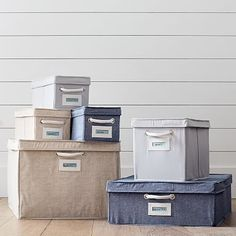 Set of 2 Underbed Canvas Bin, Solid Slate Gray