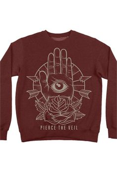 Pierce The Veil | Merch Store - Sacred Hand Sweatshirt (Maroon)