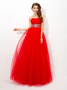 99f801c7827d8 Stylish Ball Gown Beading Sleeveless Strapless Long Net Quinceanera Dresses