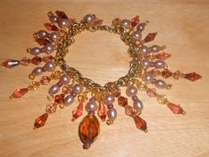 Beautiful OOAK ChaCha Bracelet Browns and Gold tone by TrendyCharm, $16.00
