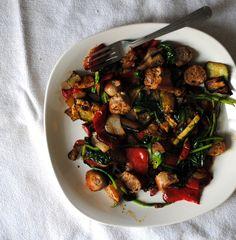 Average Eggless Breakfast–Sausage and Summer Vegetables