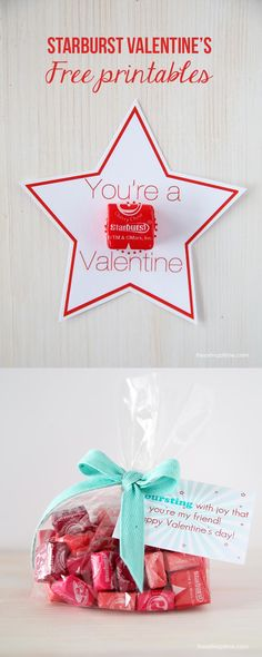 Love these Starburst Valentines -there's 2 different free downloads! #freeprintables