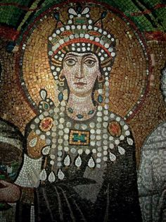The Empress Theodora, San Vitale, Ravenna. I love Byzantine art. I wish I'd paid more attention in my art history class in college. Ancient Rome, Ancient Art, Ancient History, Art History, History Class, Mosaic Art, Mosaic Glass, Byzantine Art, Byzantine Mosaics