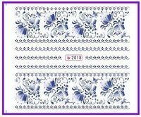1X  Nail Sticker Blue & White Water Transfers Stickers Nail Decals Stickers Water Decal Opp Sleeve Packing SY2018