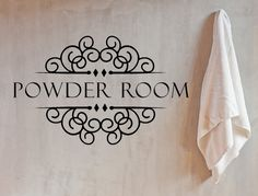 This beautiful Powder Room VInyl Wall Decal will make a lovely addition to your bathroom or powder room! Easy to apply home decor, looks hand painted and stays put for as long as you need it to be! Pl