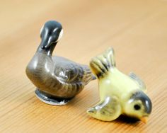 Porcelain Swan and Wren figures Set of two by kimple674250 on Etsy, $7.00