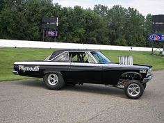 """1965 Plymouth - Altered Wheelbase -The first """"Funnycars"""" - in the 60's, these cars were giving Super Stocks a headstart and eating them alive 1/2 way down the track - great shows to watch - like bracket racing with no break out"""