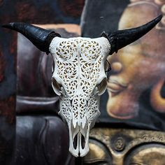 Real Hand Carved Cow Skull Horns Taxidermy Buffalo Antlers Longhorns Steer Bull | eBay