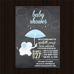 Printable Chalkboard Style Elephant Themed Baby Shower Invitation (Boy) by pereydesigns on Etsy