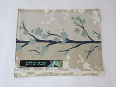 Blue+Leaf+Challah+Cover+for+use+on+shabbat+says+Shabbat+by+Leelach,+$47.00
