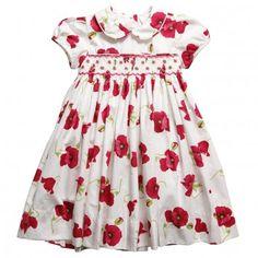 Annafie  Girls Cotton Hand-Smocked Poppy Print Dress