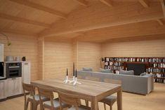 Garden room flooring Garden Room d interior Wooden Summer House, Garden Log Cabins, Floor Insulation, Garden Office, Log Homes, Plank, Dining Table, Flooring, Gardening