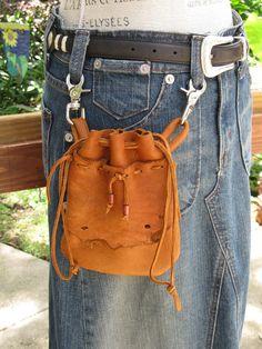 Tan Drawstring Hip Bag Made Out Of Deerskin by Linda Highsmith, $45.00 email: highsmithstudio@hotmail.com