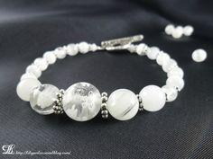 """Bracelet """"Elsa"""" Millefiori crystal à fleurs blanches"""