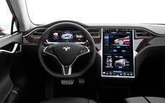 """Tesla a carrément monté un Super-Ipad sur son Model S.  Un peu comme le R-Link de la Clio 4 mais en """"à la sauce Apple"""" :)"""