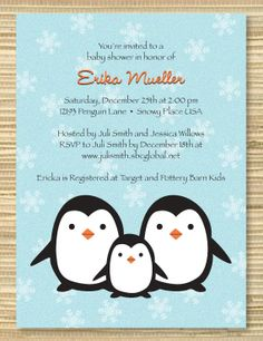 cute mother and baby penguin it's a girl cake topper  more baby, Baby shower invitation
