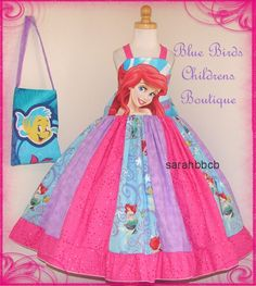 Disney Princess ARIEL - Little Mermaid Dress Purse - BBCB Boutique - not custom fits approx maybe - Birthday Party Pageant Little Mermaid Dresses, Little Girl Dresses, The Little Mermaid, Girls Dresses, Disney Princess Ariel, Mermaid Princess, Princess Party, Disney Costumes, Disney Outfits
