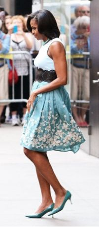 Vogue Daily — Michelle Obama  Talbots skirt
