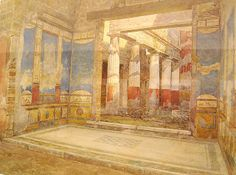 """""""House of Ancient Hunt at Pompeii"""" (1916) - Water-colours on Pompeii by Luigi Bazzani (Bologna 1836-Rome 1927) - Naples Archaeological Museum"""