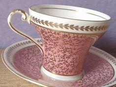 Vintage 1960's Aynsley tea cup and saucer, Antique pink tea cup set, English tea set, pink and gold tea cup set, bone china tea cup
