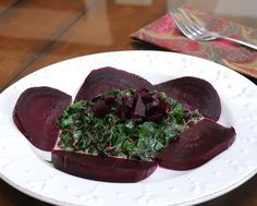 Creamy Spinach or Beet Greens with Roasted Beet from A Veggie Venture. For Weight Watchers, #PP3. Low Cal. Low Carb.