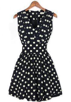 Black Polka Dot Print Ruffle V-neck Chiffon Dress